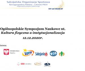Ogólnopolskie Sympozjum Naukowe nt. Kultura fizyczna a instytucjonalizacja oraz spotkanie wigilijno-świąteczne